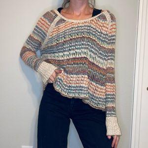 Free People Rainbow Open Knit Sweater